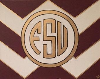 FSU Monogram Chevron Canvas