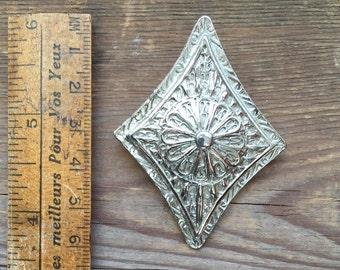 Vintage large silver metal brooch pendant