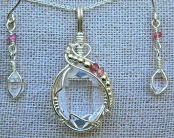Set of NY Herkimer Diamond + Pink Tourmaline Pendant and Earrings - Clear Herkimer Diamond Jewelry - Herkimer + Pink Tourmaline Jewelry