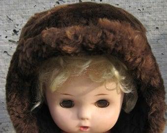 baby fur hat/brown fur/winter children's hat/sheepskin hat/ children's hat vintage