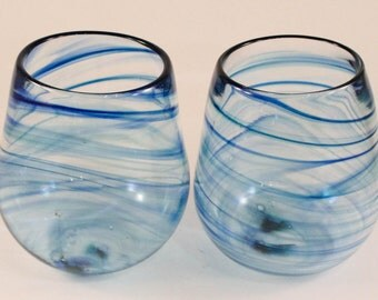 Set of Two Hand Blown Stemless Wine Glasses