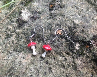 Fly agaric, Fly amanita ( Amanita muscaria ) earrings