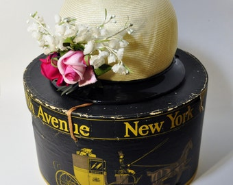Vintage Designer Cloche Hat w/ Dobbs Hat Box Off White Straw w/ Roses and Black Trim w/ Bow Jille Original Flapper New York