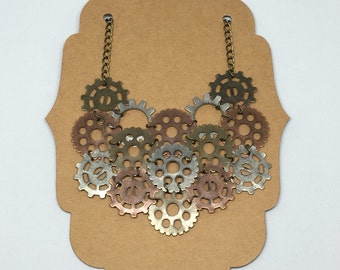 Steampunk necklace, gears and cogs necklace, collar necklace, statement piece, bronze necklace, copper necklace, silver necklace.