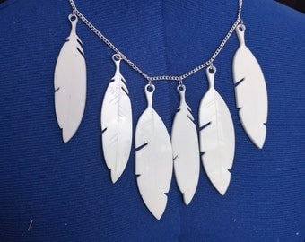 Perspex Feather cluster Necklace