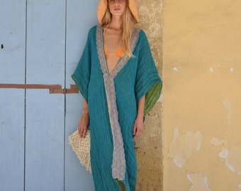 CLEO. Peacock green flowy long beach dress. Soft linen caftan with lace.