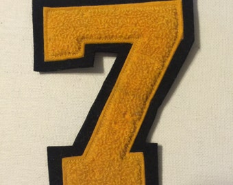 """Chenille Number 7 - 4 1/2"""" Gold on Black"""