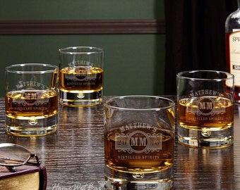 Marquee Personalized Whiskey Glasses, Set of 4 - Custom Bar Glass Set Includes Name, Year & More! Great Keepsake Gift