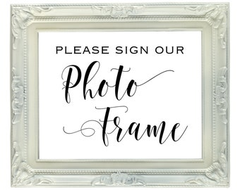 Photo Frame Guest Book sign, 8x10 Instant Download, Printable, Wedding & Reception Sign, Guest Book, Picture Frame, Photo Mat Guest Book