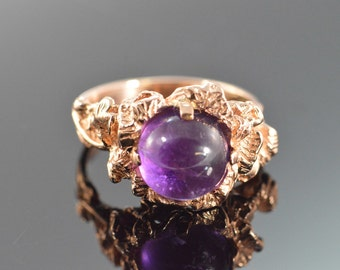 14K 2.50 Ct Amethyst Cabochon Nugget Ring Size 6.75 Rose Gold