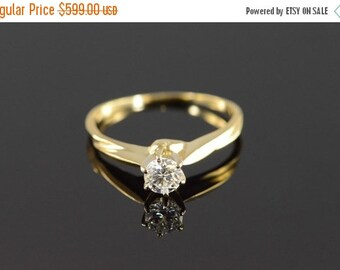 1 Day Sale 14K 0.28 Ct Solitaire Diamond Engagement Ring Yellow Gold