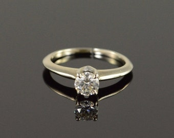 ON SALE 14K 0.50 Ct Diamond Solitaire Engagement Ring Size 4.75 White Gold