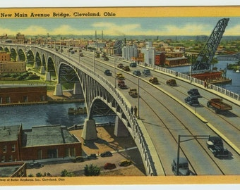 New Main Avenue Bridge Cleveland OH Ohio Connecting New Shore Drive and Bulkley Boulevard Linen Postcard