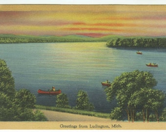 Greetings from Ludington MI Michigan Scenic Lake View Boaters Canoes Vintage Linen Postcard