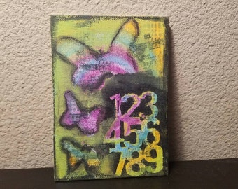 SALE 25% Mixed Media canvas painting acrylic butterfly mixed color #SassnZoe