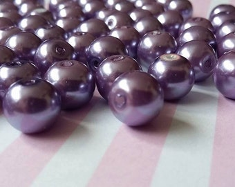 8mm purple pearl beads, Pack of 100 Glass, Round, Beads B2i