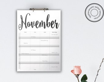 Family Calendar 'STEELHEART', black // A3