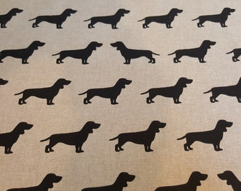Linen look DACSHUND DOG fabric by the metre
