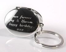 Personalised oval photo locket and mirror keyring