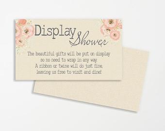 Display Shower Wedding Printable   Printable Bridal Display Shower Cards   Instant Download Baby Shower Printable   No gift Wrap Cards