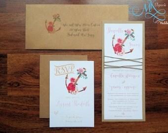 Romantic Boho Chic Rustic Nautical Wedding Invitation Stylish Anchor Monogram Wedding Invite