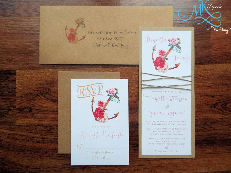 Rustic Romantic Wedding Invitations: Romantic Boho Chic Rustic Nautical Wedding Invitation Stylish