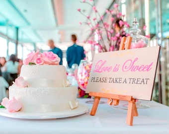 Love is Sweet - Please take a treat, Wedding candy bar sign, wedding sign, candy bar, hand painted sign