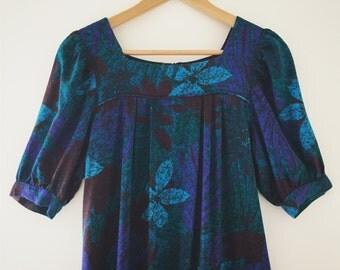Super Sweet Hawaiian Dress // Tropical Print Dress // 80's 90's Hawaiian Dress // Mini Midi Dress