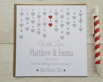 Personalised Wedding Anniversary Card - 1st First 2nd 3rd 4th 5th 10th 25th 30th 40th (LB019)
