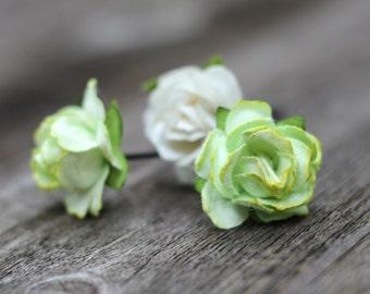 Wedding Hair Picks, Rose Hair Pins, Small Hair Flowers, Boho Wedding, Headpiece, Light Green, Crown Flower, Bobby Pins, Bridal Hair Piece