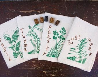 Garden Herbs Block Print Flour Sack Napkin Set