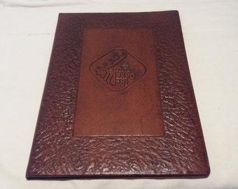 Vintage 1980's Handmade Dark Brown Leather Portfolio - NEW