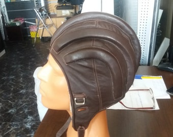 Vintage 1970's Military Dark Brown Leather Helmet - Summer Version - NEW