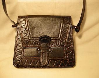 Vintage 1980's Handmade Dark Brown Leather Handbag - Shoulder Bag - NEW