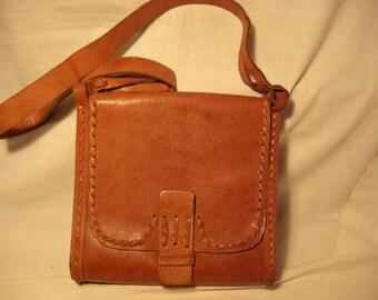 Vintage 1980's Handmade Light Bown Leather Handbag - Shoulder Bag - NEW