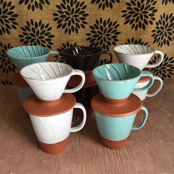 NEW Pour Over Set Ceramic Coffee Brewer by PotterybyOsa on Etsy