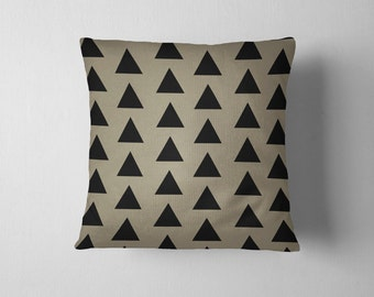 Sage and black geometric triangles throw pillow
