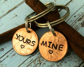 Two Key chains -Yours and Mine Keychains - Gift - Hand Stamped Penny Key Chain - Couples Key Chains - Penny Keychain - Hand Stamped Keychain
