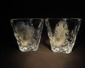 HORSES whiskey glasses pair