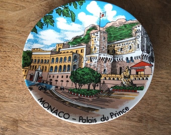 Vintage PLATE MONACO Castle Princess Grace Kelly porcelain MAJOLICA French Riviera Mid Century 1950 Fifties 9 1/2 inch  Red Green Blue