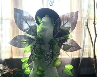 In Stock - Medium Black / Silver Leaf Glittertastic Fairy Wings
