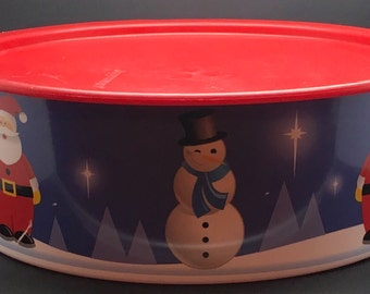 """Tupperware Winter Wonderland One Touch Canister Snack Cookie Seal F  Santa Christmas Holiday 9 1/2 """" Diameter # 340 3421"""