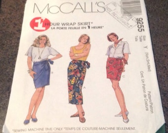 McCalls 9255 Sewing Pattern 1 Hour Wrap Skirt Theee Lenghts Extra Small Small Medium Uncut