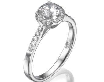 Halo Engagement Ring, 14K White Gold Ring Band, 0.69 CT Round Diamond Ring, Unique Engagement Ring, Halo Ring Size 5.5