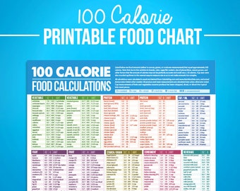 100 Calorie Digital Food Calcuations Chart -  For Nutrition Food Journal Diet Diary, IIFYM, Tracking Macronutrients, Crossfit, PDF Download