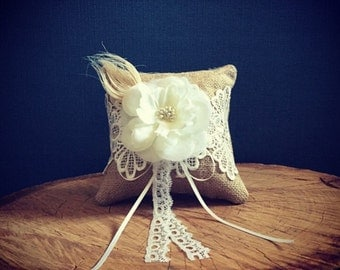 Hessian, lace and crochet, rustic wedding ceremony ring bearer pillow/vintage wedding accessories