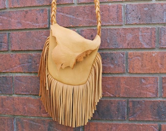 Deer skin leather/ cross body/Boho/Hippy Bag/Purse
