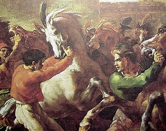 Print The Riderless Horse Race (Le Depart )Theodore Gericault , Art Reproduction