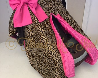 Cheetah Car Seat Canopy with Minky Lining & LUX Silver Sequin u0026 Light Pink Car Seat Canopy