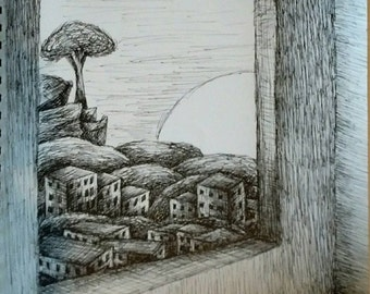 View From A Wndow,  Pen & Ink Drawing, 11 x 14